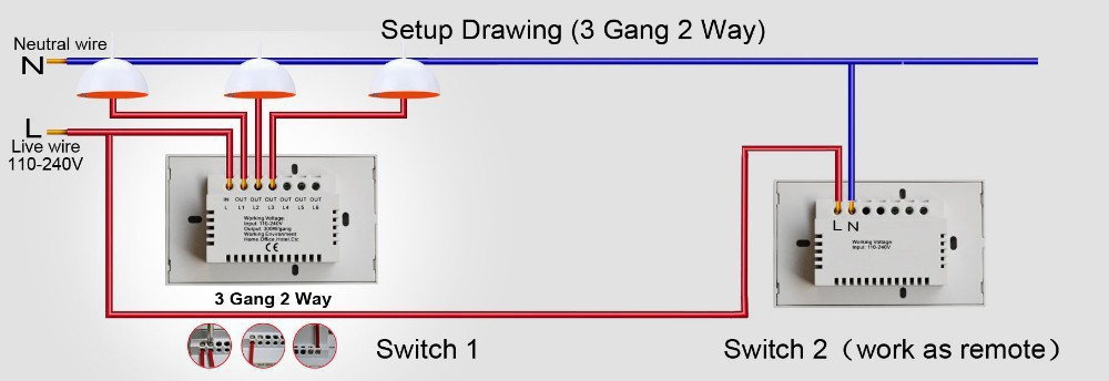 Wiring Diagram For 3 Gang 2 Way Light Switch Schematics and – 1 Way Light Switch Wiring Diagram