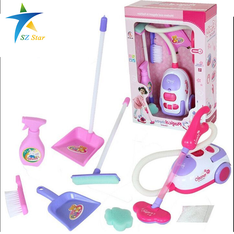 Simulation Appliances Toy Cleaner ABS plastic Cleaning Kit Tool Electric vacuum cleaner for kids Play house toys pinks 1:8(China (Mainland))