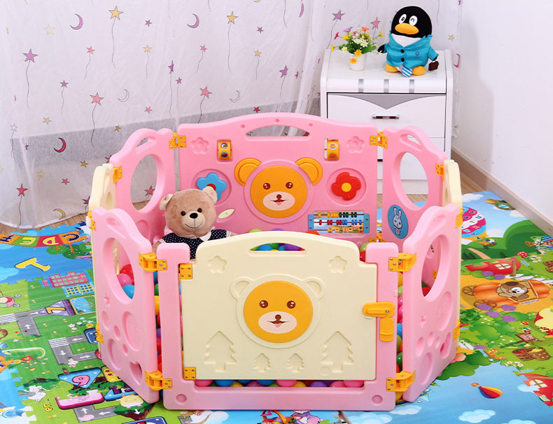 High quality 6+2 Baby Playpens Kids Plastic Fence Child Game Fence Cartoon Bear Playpen for Boys Girls 3 Colors in Stock(China (Mainland))