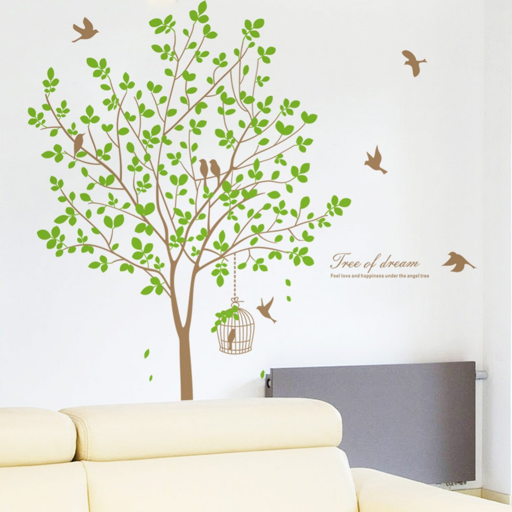 background wall stickers waterproof removable nature green wall