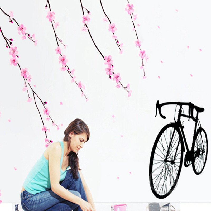 willow tree bicycle bike stickers wall sticker home decor diy adhesive art mural picture poster removable vinyl wallpaper AY931(China (Mainland))