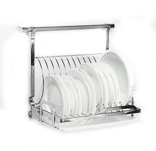 18/8 Stainless Steel Foladable Kitchen Plates Dishes Rack Wall Mounted Kitchen Shelf For Space Saving Storage(China (Mainland))