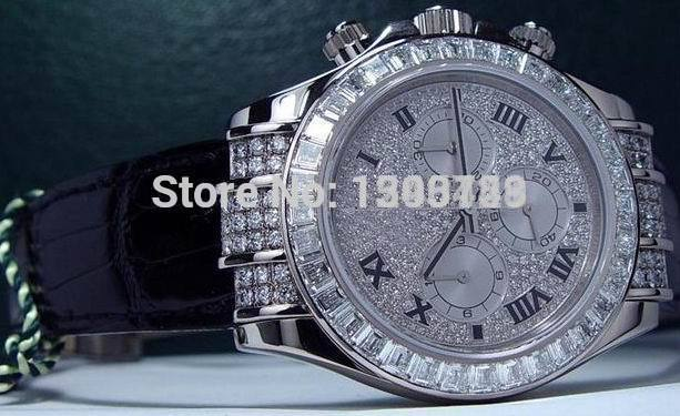 Mens Chronograph Full Bling Diamond Pave Watch Men's Cosmograph Men Leather Sport 116599 Watches(China (Mainland))