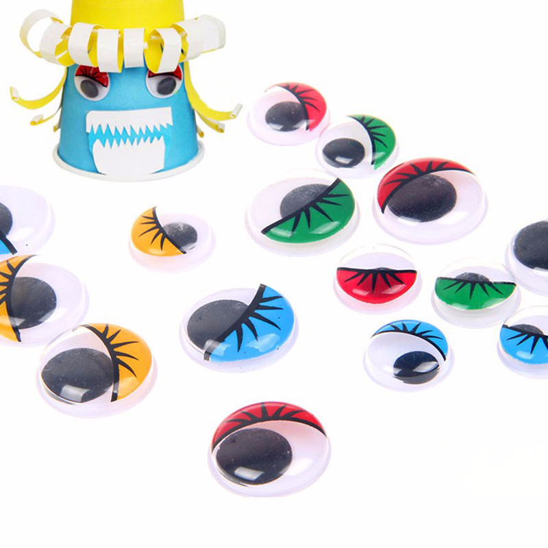 100pcs 12*16mm Multicolor Eyelash Eye Activities Moving Eyeball Plastic Eyes Scrapbook montessori materials Doll Toy Accessories(China (Mainland))