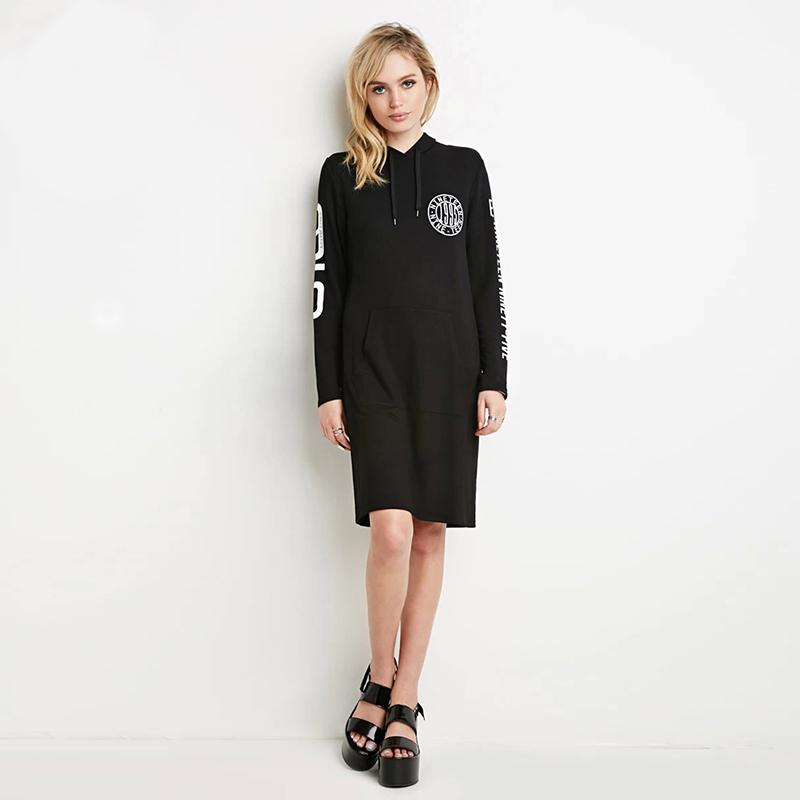 2016 Hot Sale Autumn Women Slim Hooded Dress Korean Style Long Sleeve Black Pullover XS-2XL Dresses Long Top HD00041(China (Mainland))