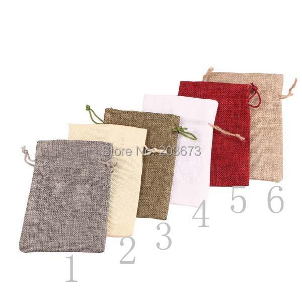 Free shipping jute burlap drawstring bags pouches cotton drawstring as gift and jewelry packing(more colors)(China (Mainland))