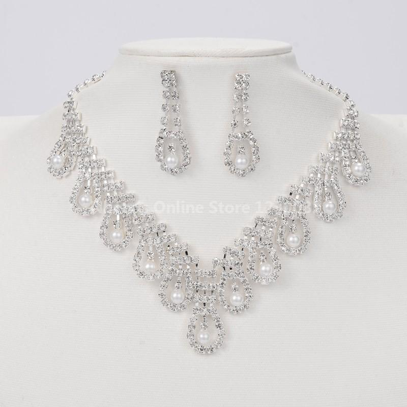 Silver Tone Brass Rhinestone Cup Chain Wedding Jewelry Sets, Bib Necklace and Stud Earring, with ABS Imitation Pearl, Crystal,(China (Mainland))