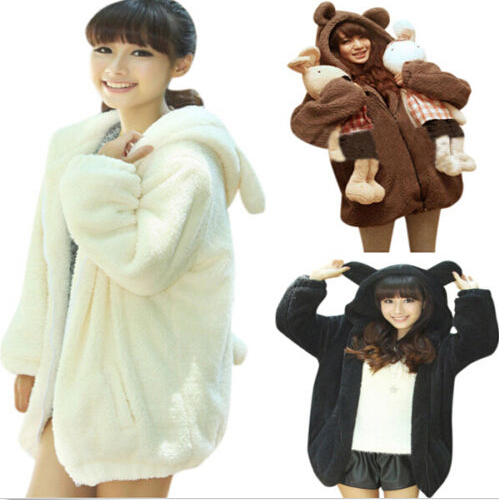 Cute Lady Girl Winter Warm Teddy Bear Ear Outerwear Coat Hoodie Jacket 3 Colors(China (Mainland))