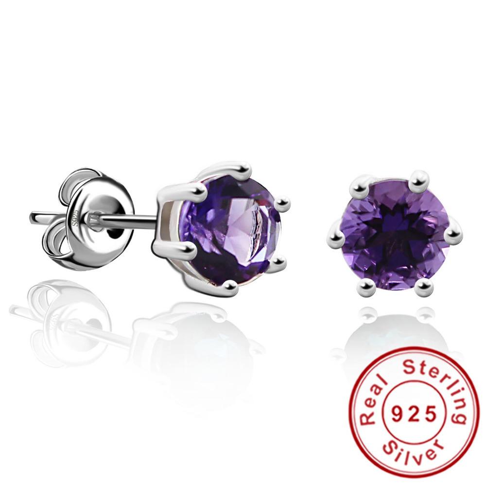 Round 1ct Gemstone Natural Amethyst Citrine Garnet Peridot Blue Topaz Earrings Stud 925 Sterling Silver Fine Jewelry 2015 Brand(China (Mainland))