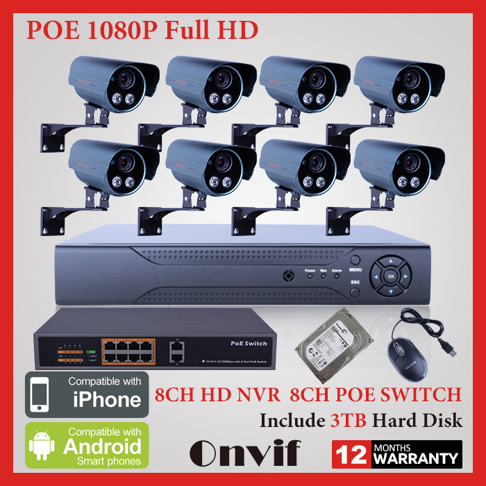 8CH 1080P 2.0Megapixel HD Outdoor IP Camera POE IR Network Surveillance CCTV Security System 8CH NVR+8 ports POE Swtich+3TB HDD(China (Mainland))