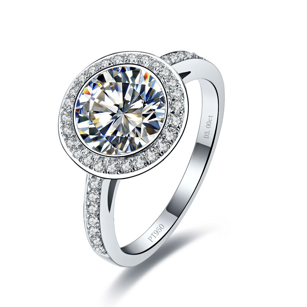 3 Carat Pure Gold 14K Round Astounding Synthetic Diamond Engagement Ring For Woman Top Brand Style Excellent Design Ring(China (Mainland))