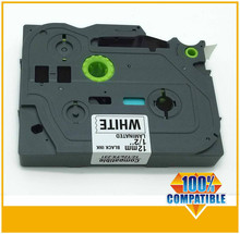 label tape compatible for brother p touch label making machine p touch tz tape tze-231 black on white 12mm wide 8m length