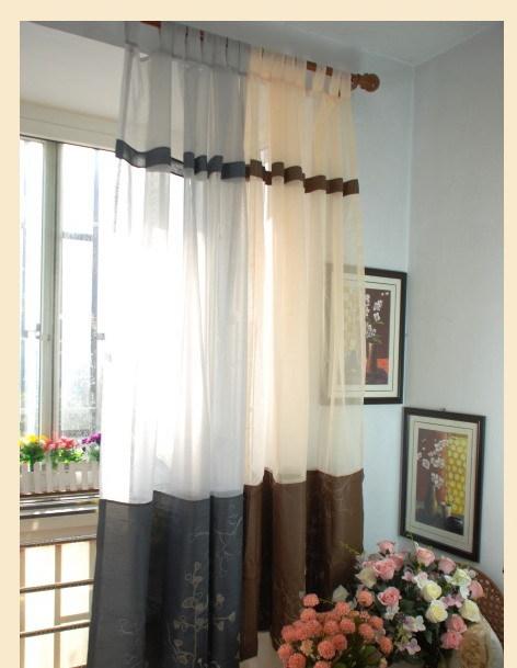 Organza bordada cortina de la ventana para sala de tergal - Cortinas de gasa ...