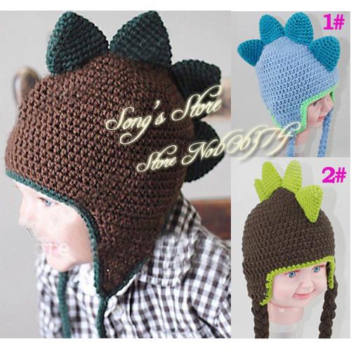 Crochet Baby Dinosaur Beanie Pattern : Baby Crochet Hat Handmade Baby Boy Earflap Dinosaur Winter ...