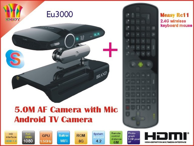 New! 5.0MP and Mic Android TV camera HDMI 1080P 1GB/8GB android 4.2 skype Google Android TV box EU3000 + Measy RC11 Air Mouse