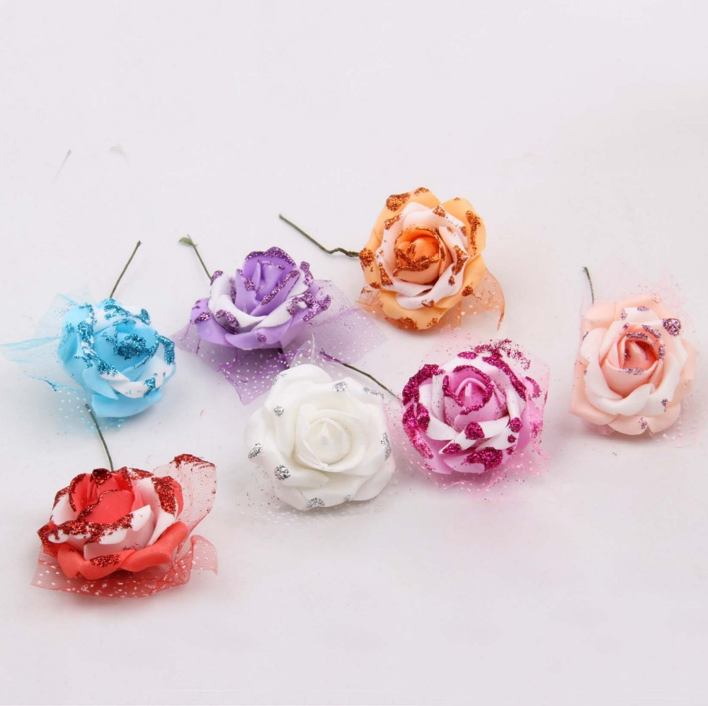 Free Shipping 100pcs 5cm Artificial Glittered Foam Rose Flower Stems With Organza Wedding Hair Garland Boutonniere Accessories(China (Mainland))