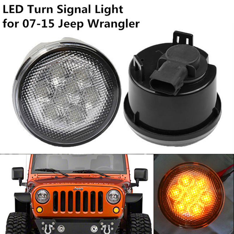 For 07-15 JEEP Wrangler JK Turn Signal Light Assembly Amber Front LED Lights Clear Lens <br><br>Aliexpress