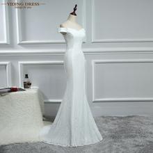 New Arrive Wedding Dresses Elegant Mermaid Off Shoulder Boat Neck Crystal Lace White Ivory vestido de noiva 2016(China (Mainland))