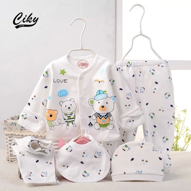 (5pcs/set)Newborn Baby 0-6M Clothing Set Brand Baby Boy/Girl Clothes 100% Cotton Cartoon bear Underwear set hat ,Free Shipping(China (Mainland))