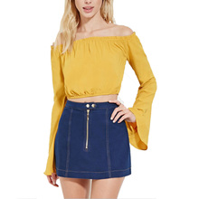 Buy 2017 Women Sexy Elastic Slash Neck Flare Long Sleeve Blouses Crop Tops Female Flare Sleeve Short Shirts Casual Brand Blusas for $10.59 in AliExpress store