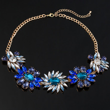 2016 TOP Newest Fashion fashion jewelry Exquisite Rhinestone Pendant Necklace gem flower chain pendant necklace for