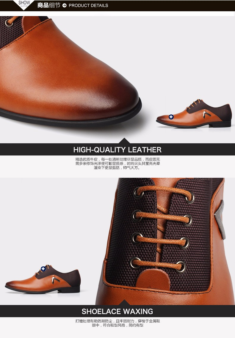 Pointed Shoes Large Size 11 Black/Brown Business Men's Basic Casual Shoes Genuine Leather Cloth Elegant Design Handsome Flat CCS