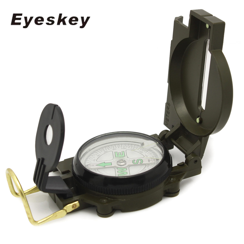 Eyeskey Portable Army Green Folding Lens Compass Metal Military Marching Lensatic Camping Compass New Co., Ltd.)