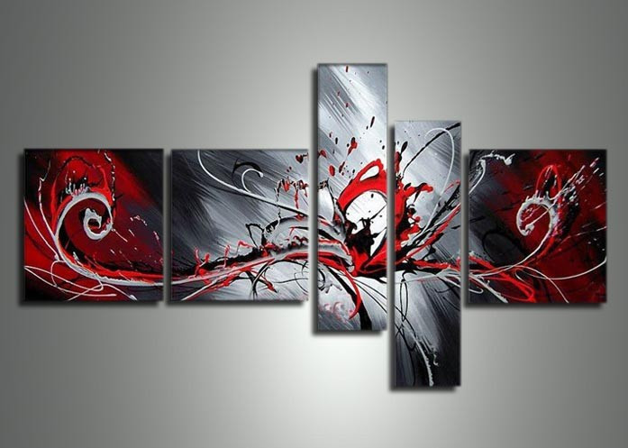 black white Passion Five Hand-painted 5 Piece Large Canvas Abstract Oil Painting Wall Art Home Decoration - Fraz & YX Studio store