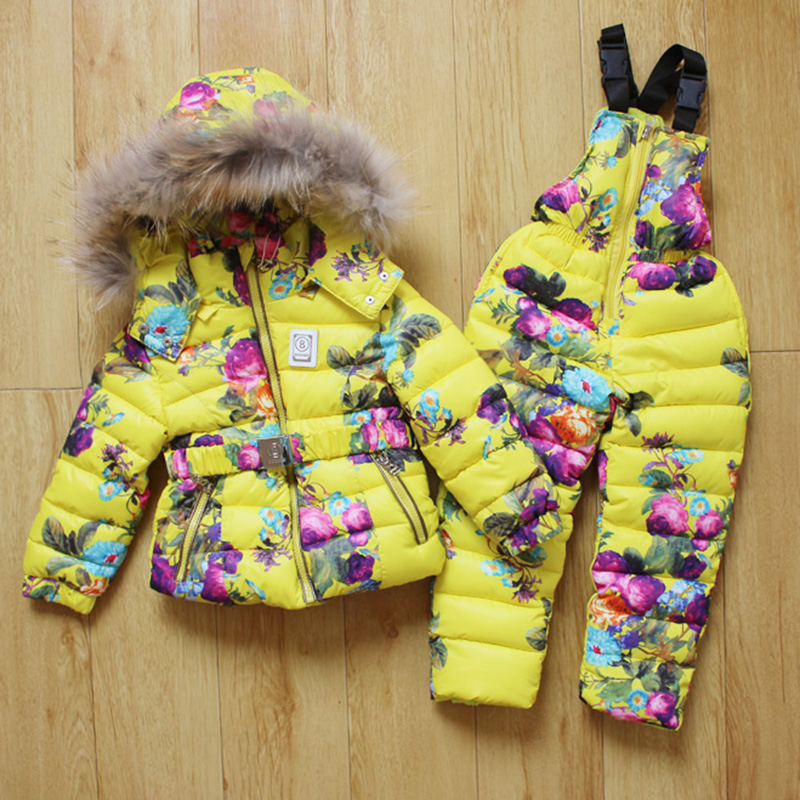 2016 Russia Winter Suits Girls Kids Ski Suit girls cotton children's thick Snowsuit Children Clothing Set Down Jacket+Jumpsuit(China (Mainland))