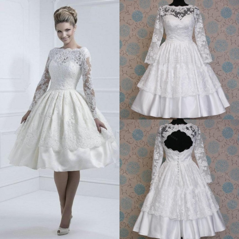 High neck lace long sleeve wedding dresses ball gown knee for Wedding dresses with high neck and long sleeves