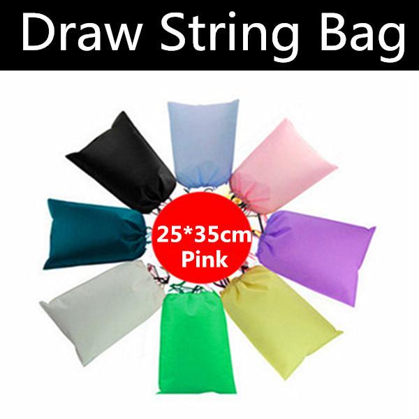 500pcs 25*35cm Pink Non-woven Draw String Bag, Viscose Fiber Gift Bag, Non-woven Shopping Bags(China (Mainland))