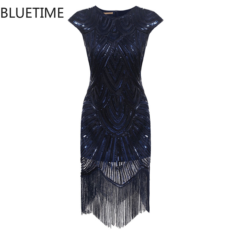 BLUETIME Great Gatsby Dress Women Tassel Sequined Blue Party Dresses Ladies Summer Sexy Bodycon 1920s Retro Vintage Sundress 30A(China (Mainland))