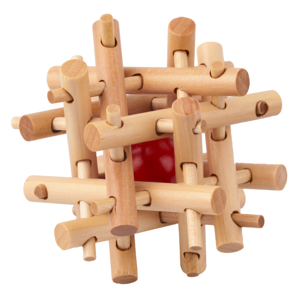 Wooden Wood IQ Brain Teaser Kong Ming Lock Ball IQ Puzzle Wooden Toy Hot Selling(China (Mainland))