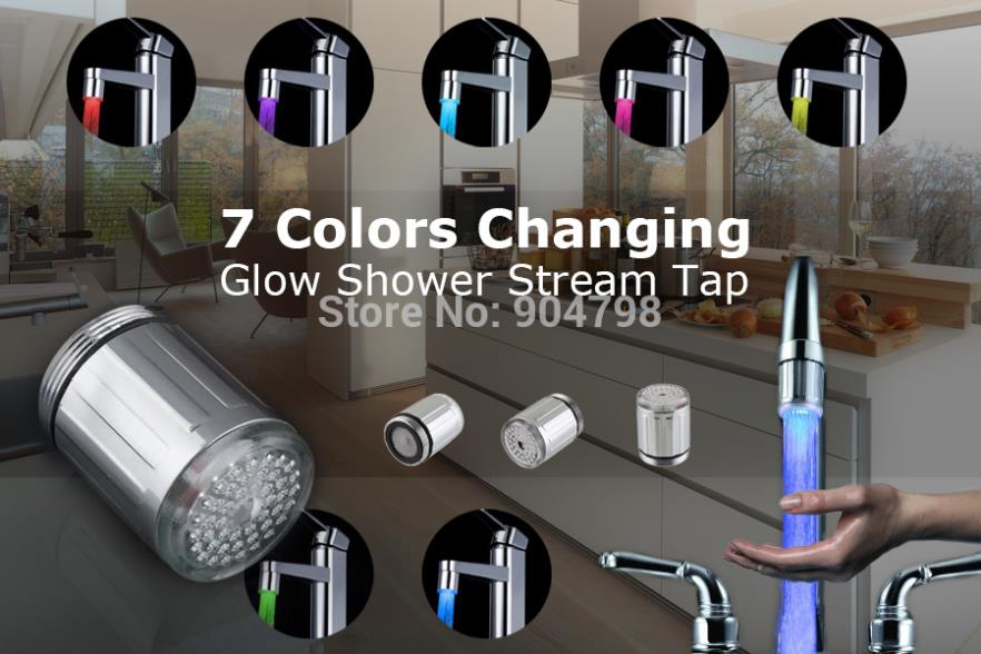 Top Quality!!! 7 Color RGB Colorful LED Light Water Shower Spraying Head Faucet Bathroom(China (Mainland))