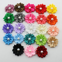 2015  boutique mini Multilayers flower Satin ribbon flower pearl hair  flower  hair/Garment accessories