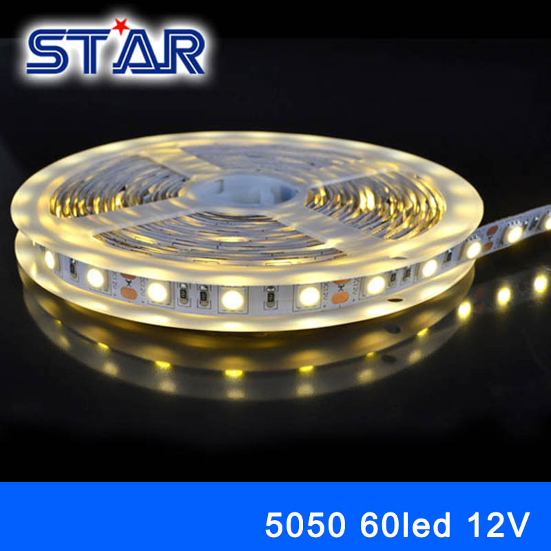 led strip light SMD 5050 LED Strip Light 12V 60leds/m Flex LED Tape Rope Light RGB White Warm White Cold white Red Green Blue(China (Mainland))
