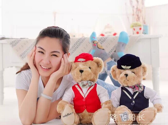 a pair of lovely British style teddy bears doll red &dark blue cloth flight attendant bear plush doll birthday gift about 32cm(China (Mainland))