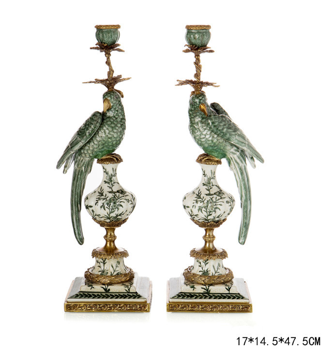 Excellent design porcelain parrots candle holder home decor pair bronze candle stick parrots Home decor candlesticks