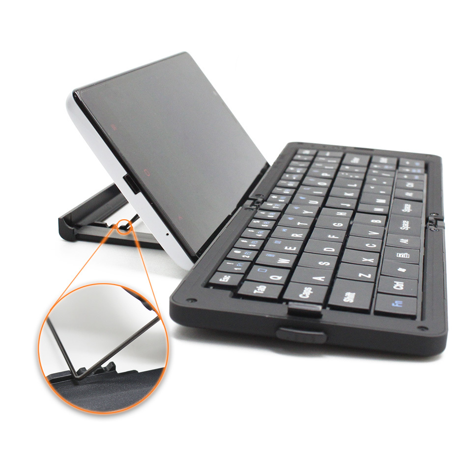 Black Wireless Bluetooth Foldable Mini Portable Keyboard For Iphone For Table PC Notebook Computer with Adjustable Phone Holder(China (Mainland))