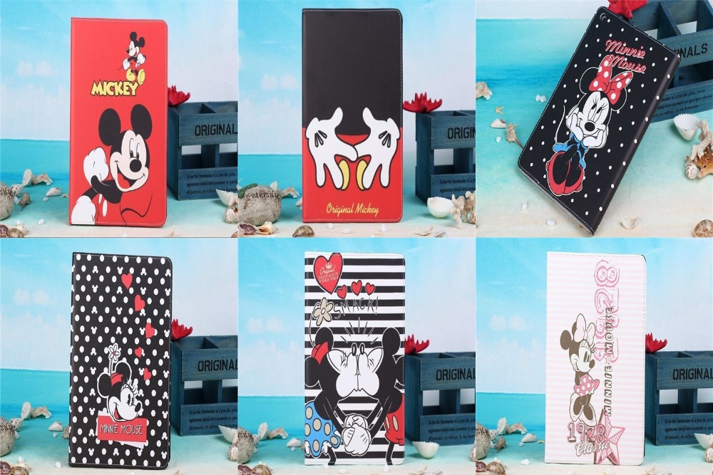Apple iPad 2 3 4 9.7 Inch New Cartoon Cute Mickey Minnie Mouse Tablet Phone Case Leather PU Stand Covers Hot - Rose Angel store