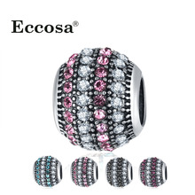 Buy Crystal Spacer Charms Beads fit Original Pandora Bracelet Big Hole European Bead Micro Pave CZ Silver Plated Charms Diy Jewelry for $1.19 in AliExpress store