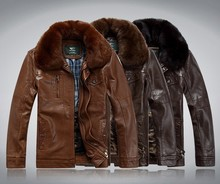 Hot !!! Free shipping New men's leather, sheep skin Genuine Leather jackets, suede collar fur coat in winter(China (Mainland))