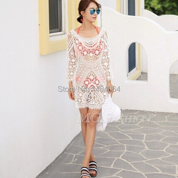 Olive Branch Pattern Women Lady Loose Embroidery Blouses Floral Lace Crochet Dress Hollow Retro Long Sheer Sleeve Free Shipping(China (Mainland))