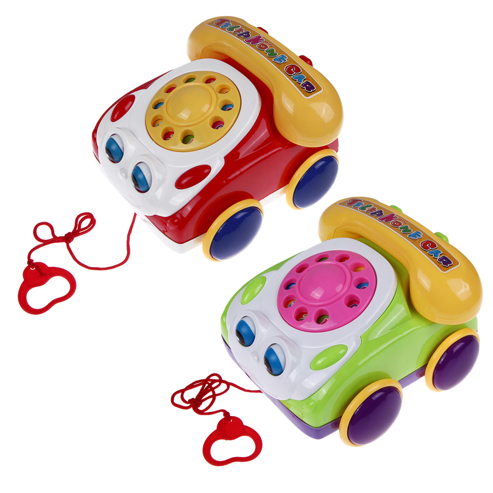 Baby Telephone Toy Colorful Plastic Children's Learning Fun Music Phone Toy Basics Chatter Telephone Classic Kids Pull Toy(China (Mainland))