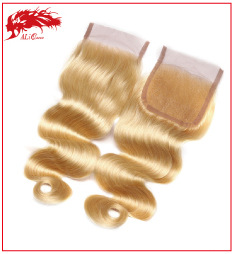 #613 Lace closure Free part Bleached Knots, Brazilian Virgin Hair Body Wave Blonde Closure,6A #613 Closure Body Wave Weave