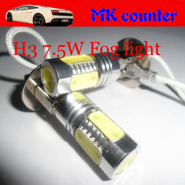 2pcs/lot High Power H3 7.5W led light Car Front Head lights auto Fog Bulb Lights Lamp xenon White Packing Light blue yellow(China (Mainland))