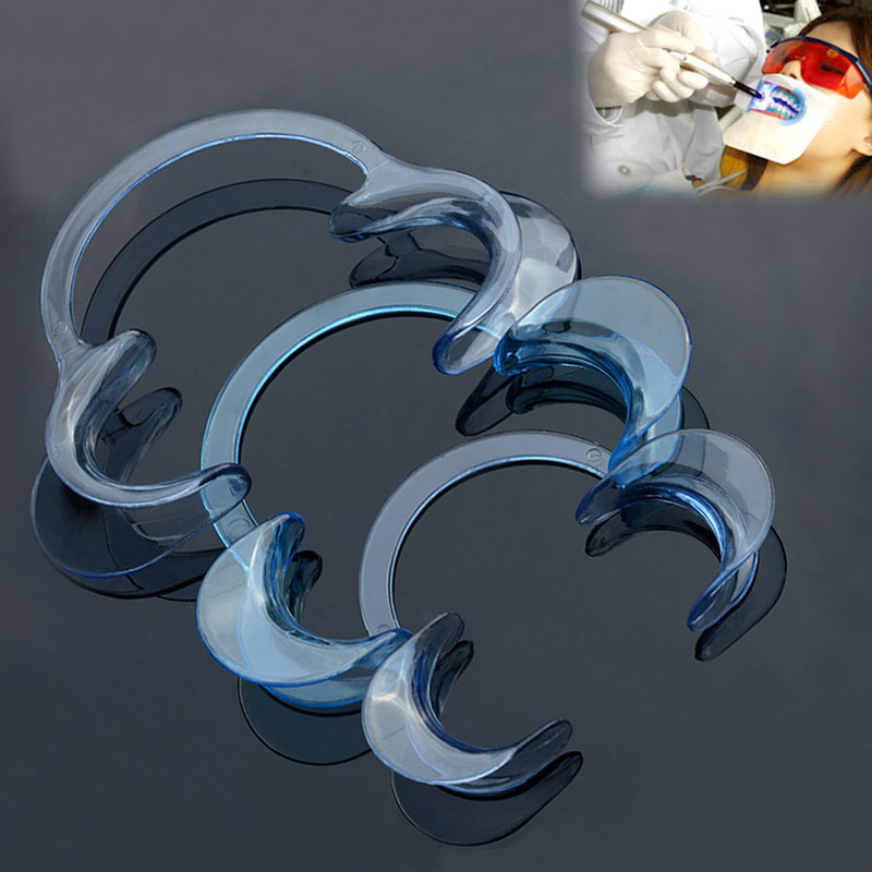 50Pcs Orthodontic Dental accessories Teeth Whitening Dentist Cheek Retractor C Shape Blue Color (Middle Size) Mouth Opener