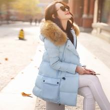 Free Shipping New 2015 Fashion Thick Fur Coat Women Winter Slim Fur Parkas Autumn Slim Fur Collar Down(China (Mainland))