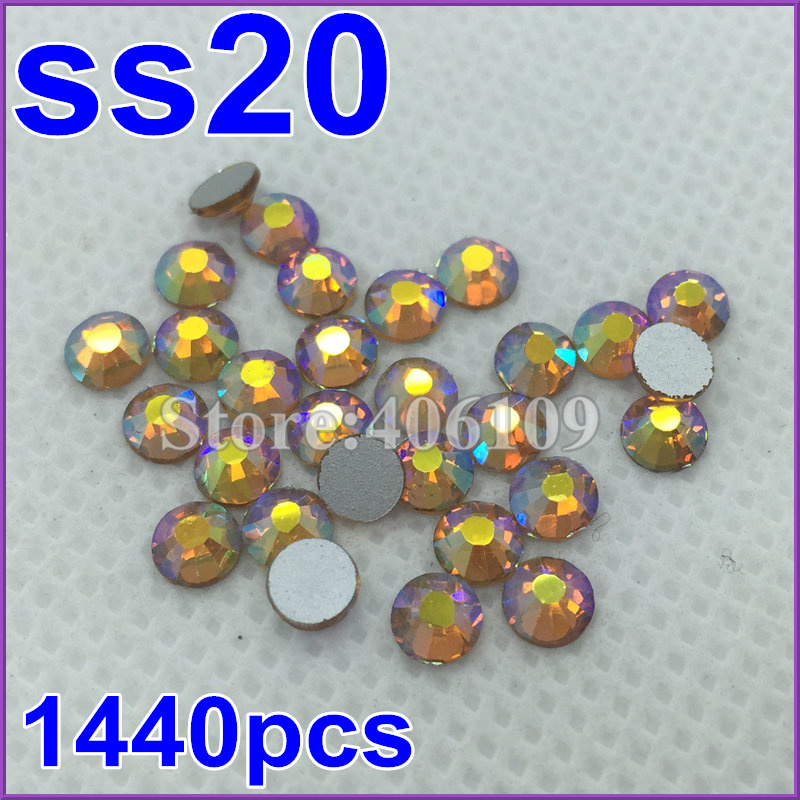 hot deals discount new SS20 1440pcs Topaz AB silver plated Flat Back Non Hotfix sticker glue on rhinestone(China (Mainland))