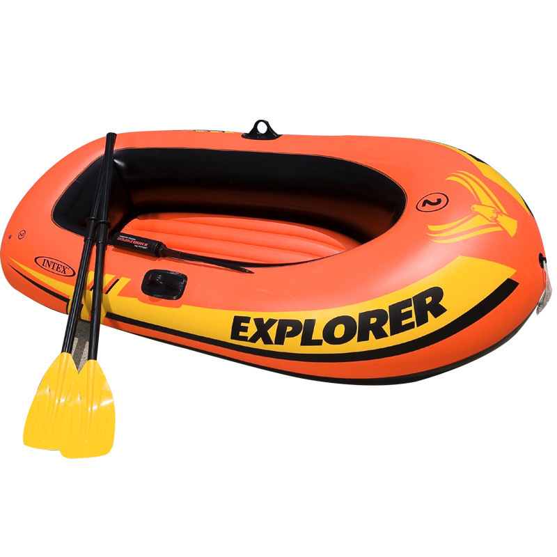 free shipping by DHL Brand INTEX 2 Person Inflatable Fishing Boat Kayak Canoe For Drifting Surfing Sandbeach With Oars Hand Pump(China (Mainland))